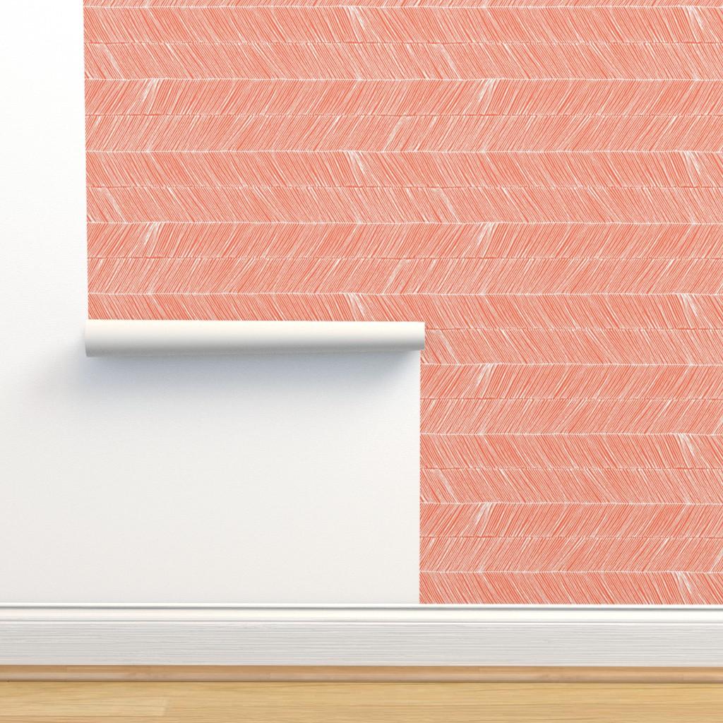 Isobar Durable Wallpaper featuring Herringbone - Peruvian Coral by papercanoefabricshop
