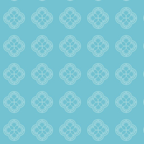White Ornamental Pattern on Turquoise