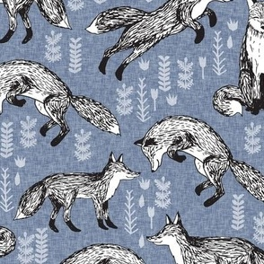 Foxes - Stonewash Blue with Linen look by Andrea Lauren