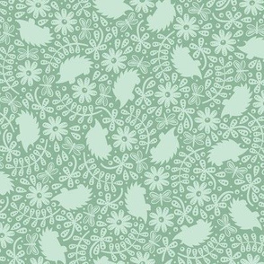 Hedgehogs in the Leaves (Mint Green)