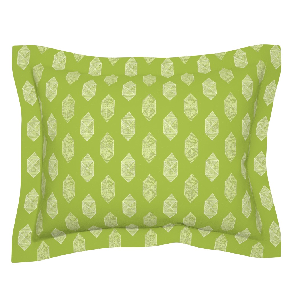 Sebright Pillow Sham featuring Hexagons in Green by Friztin by friztin