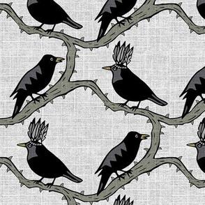 thorn birds on linen