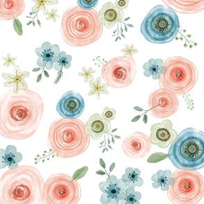Watercolor Flowers (Cotton)