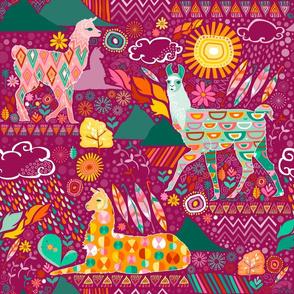 Llamas on Purple (Large)