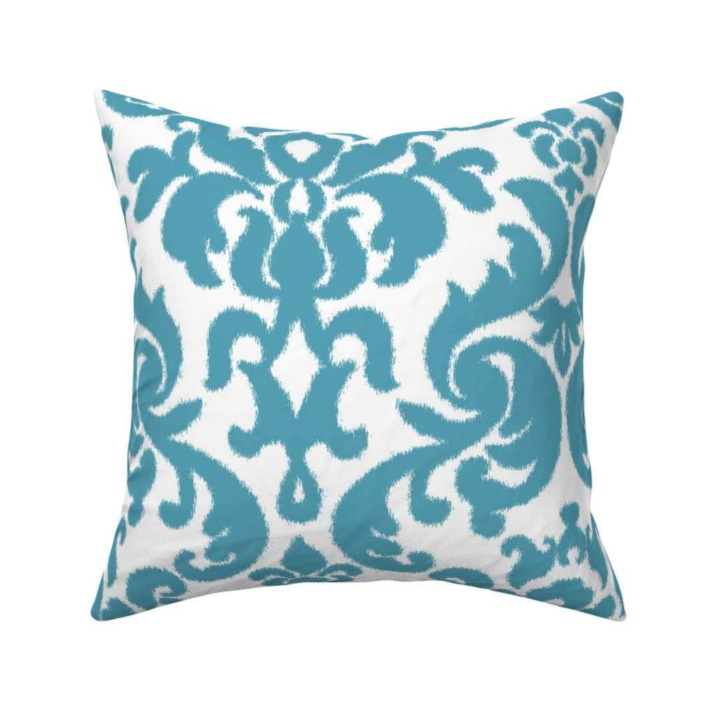 Catalan Throw Pillow featuring Teal Ikat Damask by willowlanetextiles