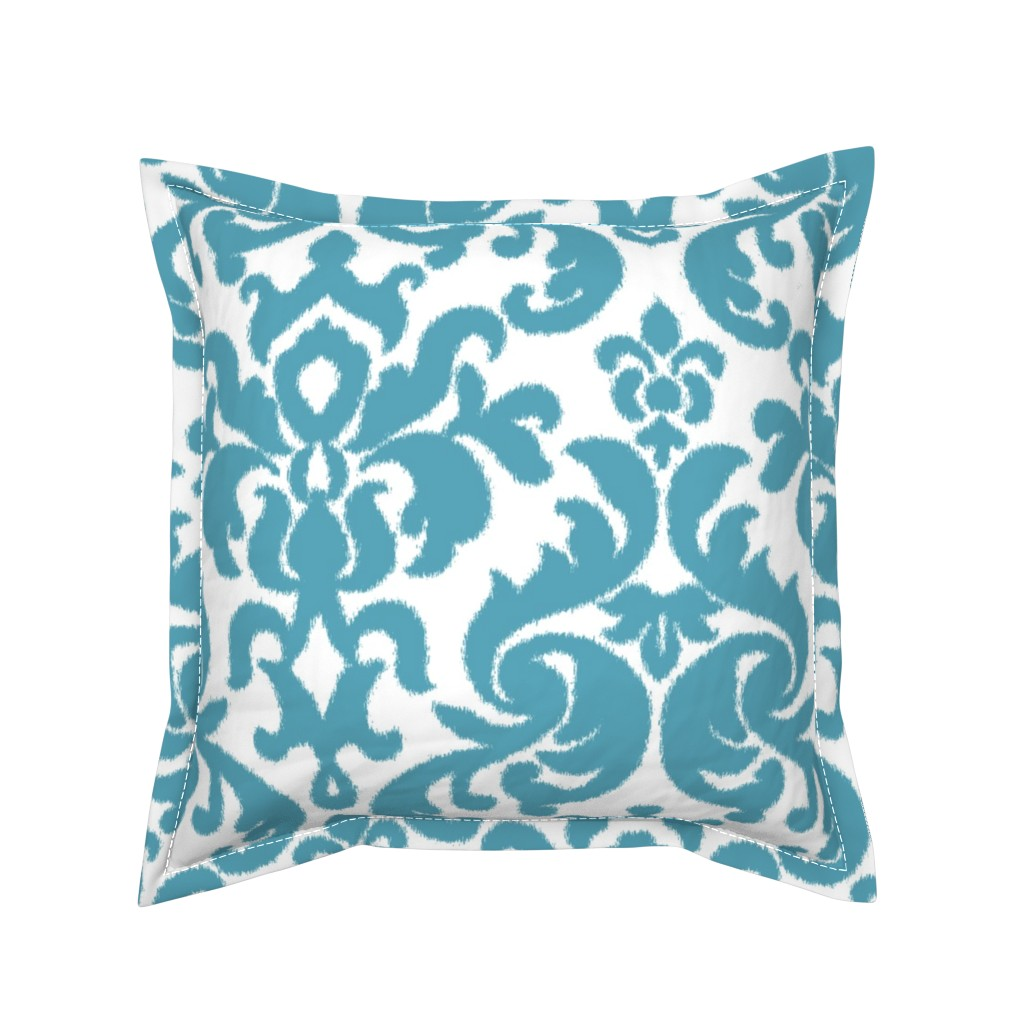 Serama Throw Pillow featuring Teal Ikat Damask by willowlanetextiles