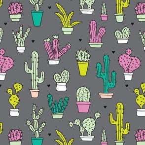 Cactus cacti summer garden botanical colorful retro kids  pattern
