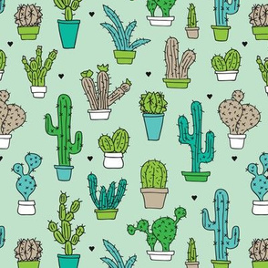 Cactus cacti summer garden botanical green mint and blue kids pattern