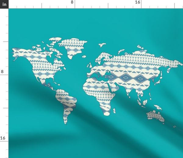 Fabric by the Yard Tribal World Map in Turquoise- Large