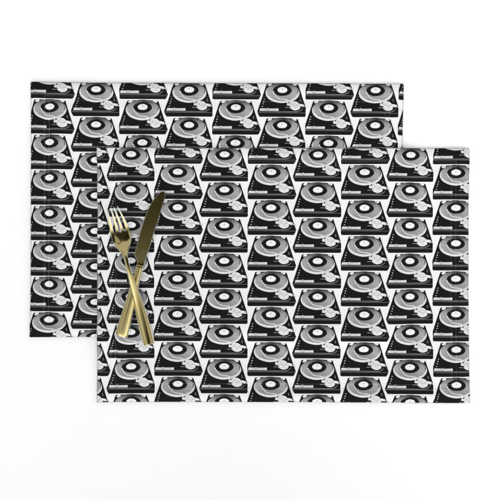 Lamona Cloth Placemats featuring Black&White turntables by susiprint