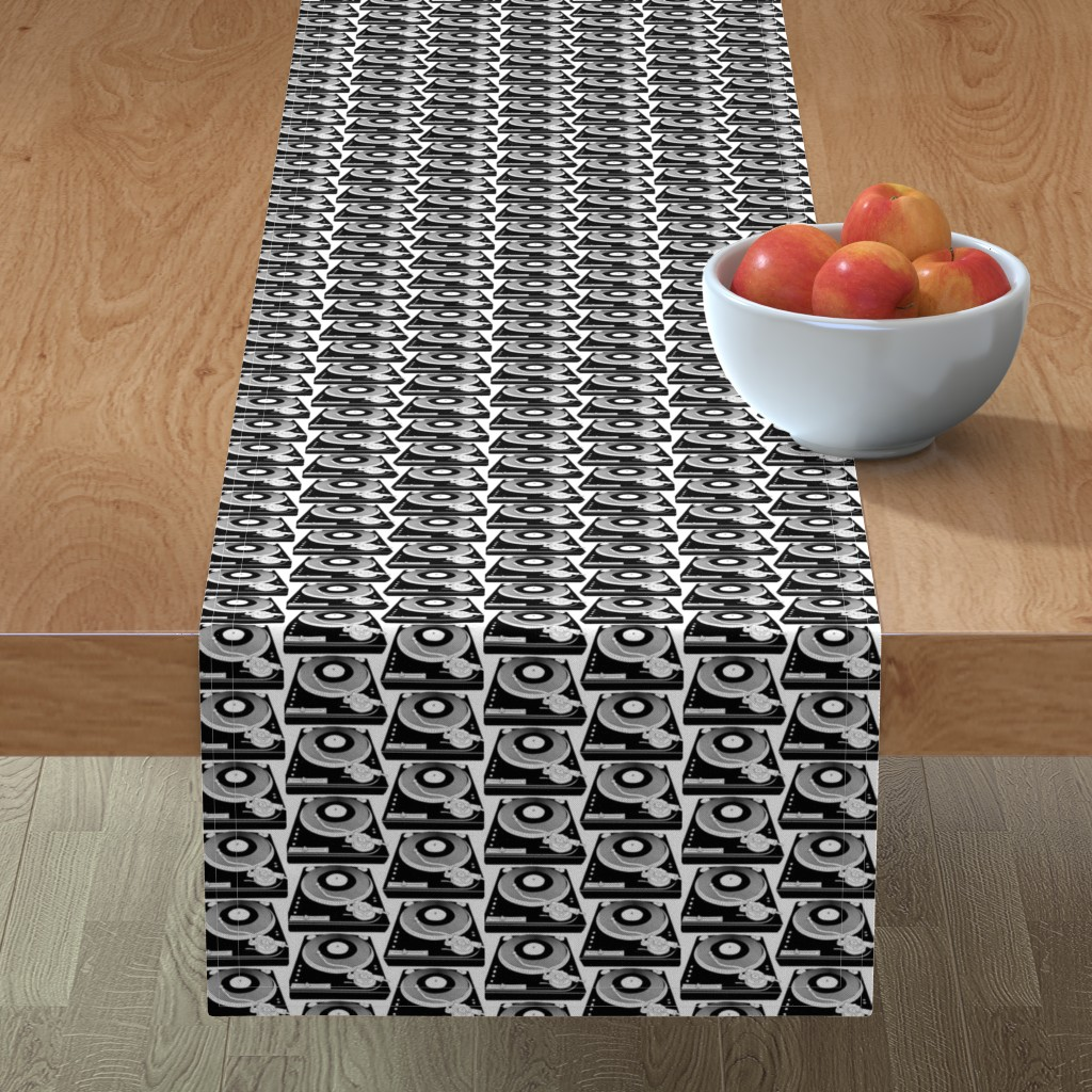Minorca Table Runner featuring Black&White turntables by susiprint