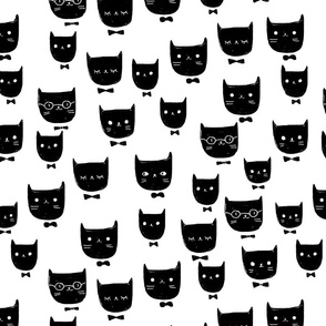 cats / black and white, kids room, boys, animal, minimal,  girls