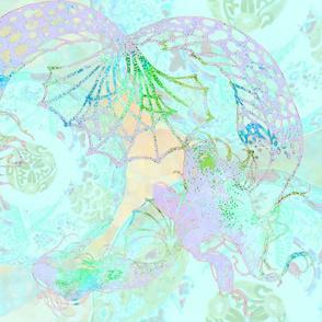 Deco Mermaids in celedon