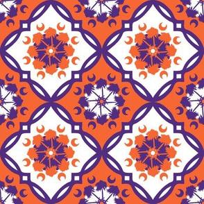 Orange and purple team color Medallion 4inch repeat