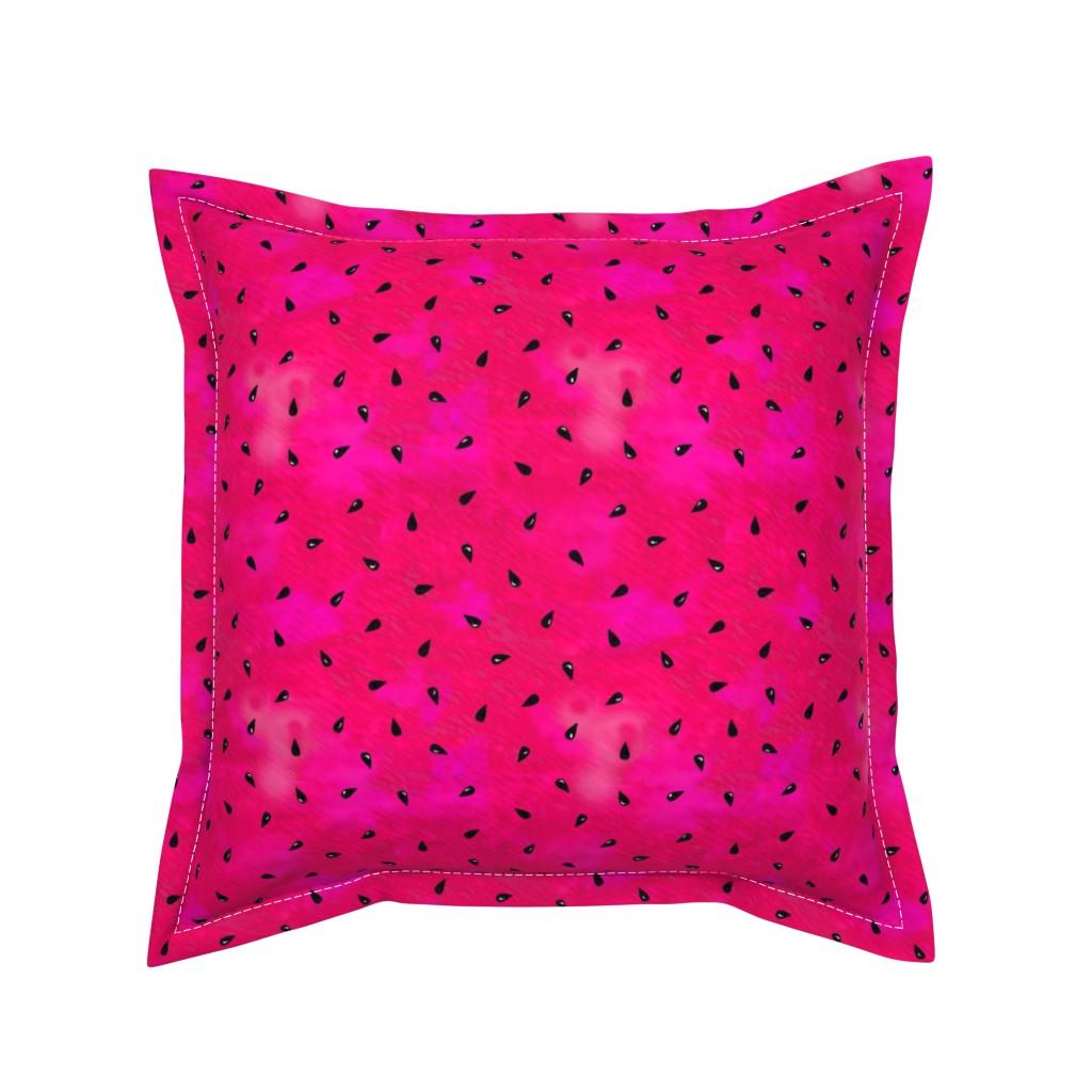 Serama Throw Pillow featuring Summer Watermelon Seeds by ileneavery