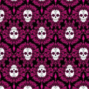Dead Damask Hot Pink on Black