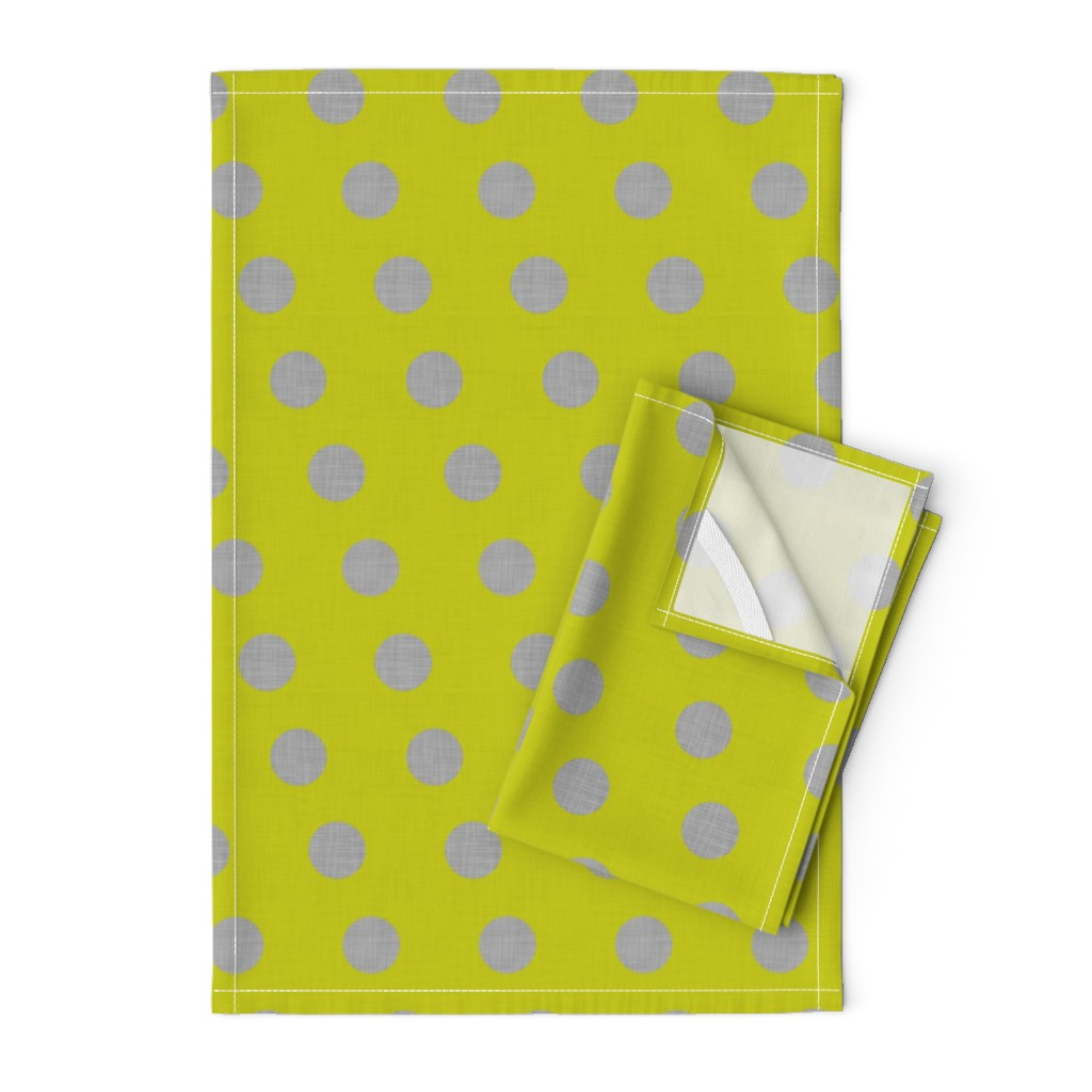 Orpington Tea Towels featuring Lacewing Polka in Yellow by spellstone