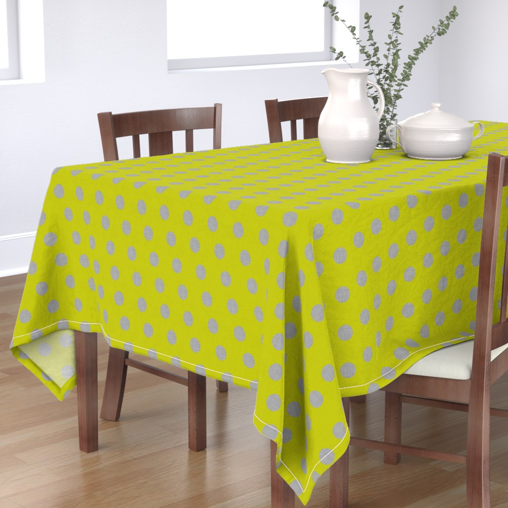 Bantam Rectangular Tablecloth featuring Lacewing Polka in Yellow by spellstone