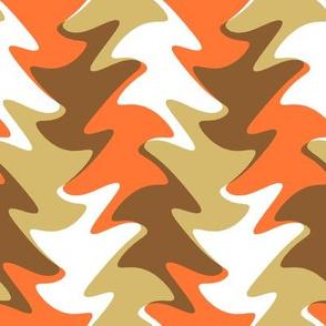 leaf swirl in orange, chocolate, and caramel