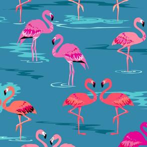 flamingos love teal - Large
