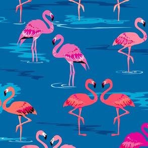 flamingos love blue - Large