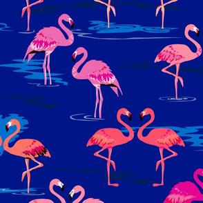 flamingos love navy - Large