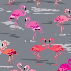 flamingos love grey - Large