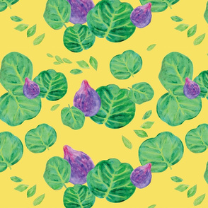 Watercolor Fig and leaf sprout in yellow, green and lilac