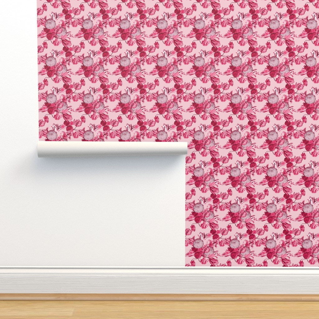 Mid Century Modern Floral Pink On Isobar By Peacoquettedesigns