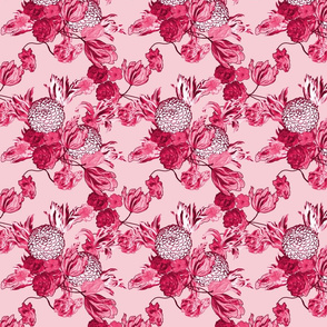 Mid Century Modern Floral ~ Pink and Cranberry ~ Small