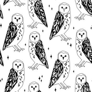 owls // barn owl black and white geometric hand-drawn illustration by Andrea Lauren