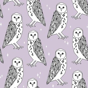 owl // purple lavender pastel hand-drawn barn owl illustration by Andrea Lauren