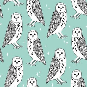 owl // barn owl mint triangles black and white kids nursery baby kids design