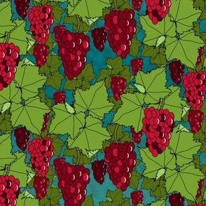 Fresh Crimson Grapes - Night