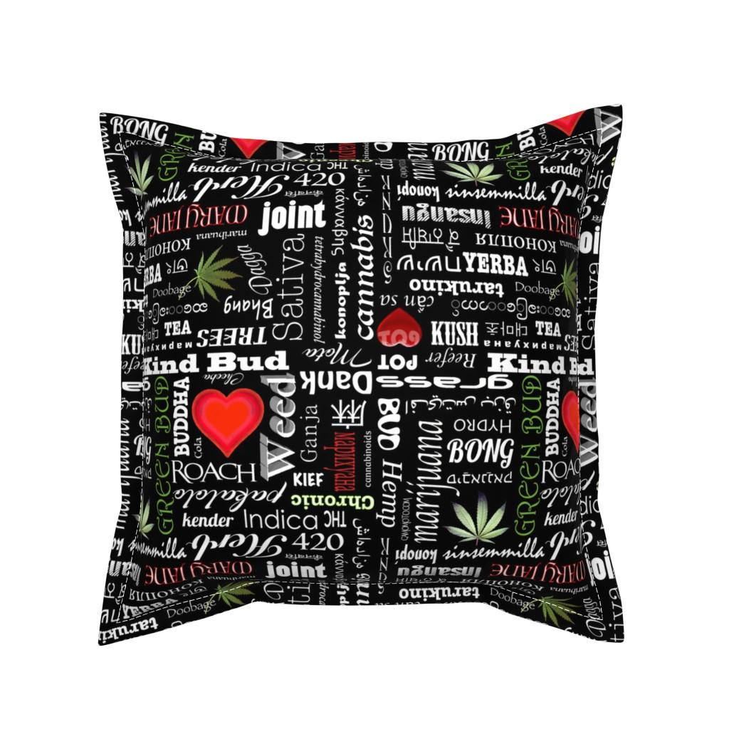 Serama Throw Pillow featuring Marijuana Names by camomoto