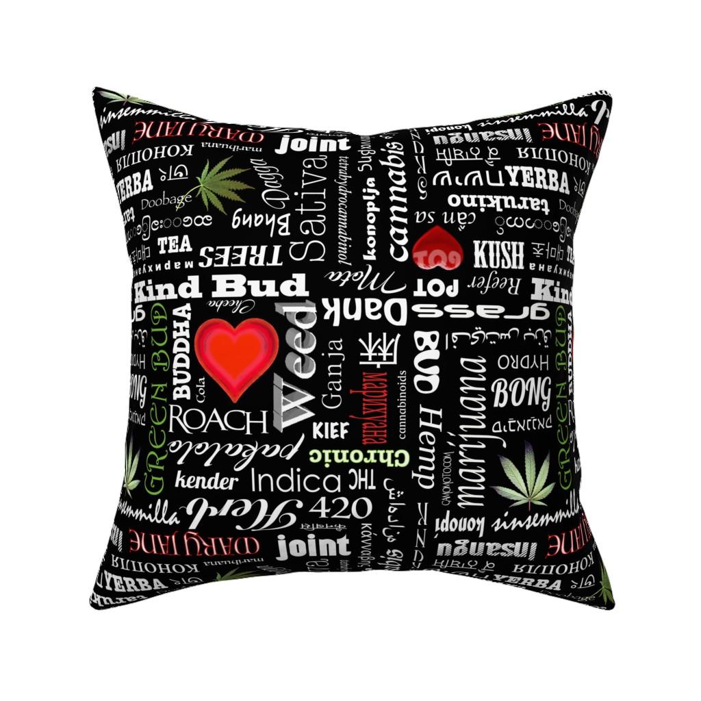 Catalan Throw Pillow featuring Marijuana Names by camomoto