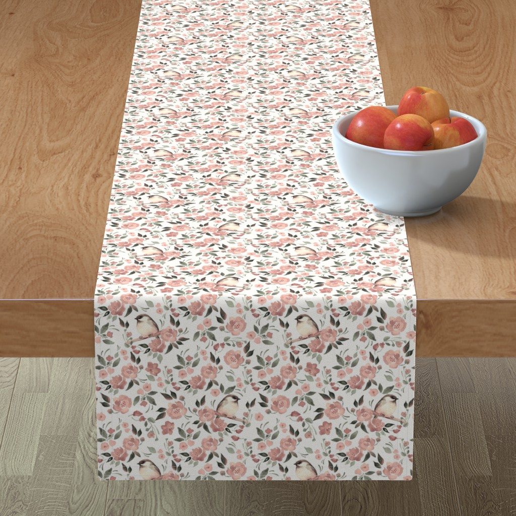 Minorca Table Runner featuring Flowers and birds by gribanessa