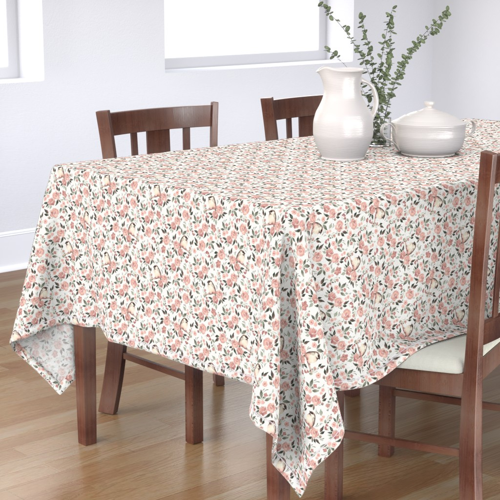 Bantam Rectangular Tablecloth featuring Flowers and birds by gribanessa