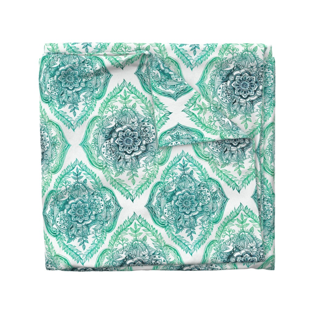 Wyandotte Duvet Cover featuring Indian Ink Floral Doodle in Emerald Green by micklyn