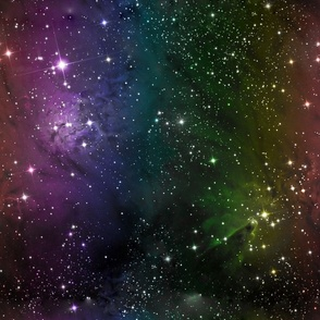 Rainbow Galaxy Fabric Outer Space Stars