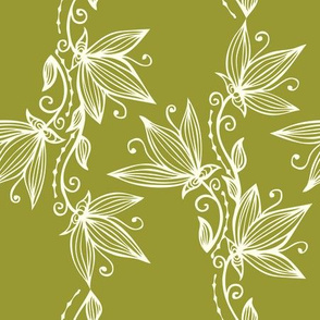 Vertical Garlands Floral Line Art Pattern