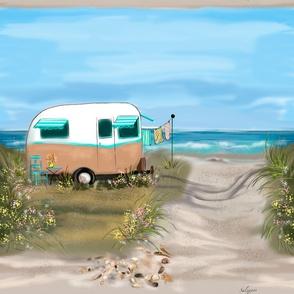 Large Print Camping at Shore #2