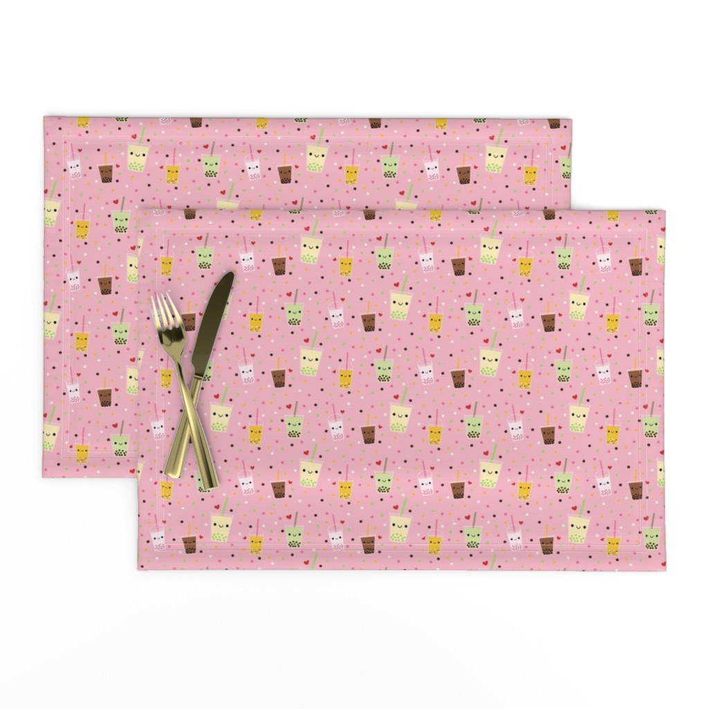 Lamona Cloth Placemats featuring Happy Boba Bubble Tea - Pink by clayvision_&_ahappybluetree
