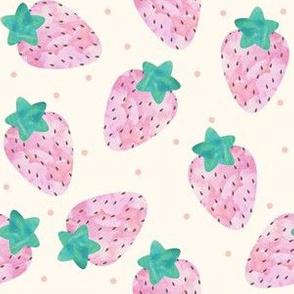 Watercolour Pastel Strawberries on Beige