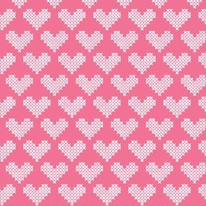 Frederica Cross Stitch Hearts in Pink