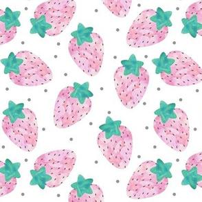 Pastel Watercolour Strawberries on White