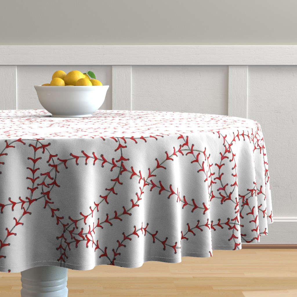Malay Round Tablecloth featuring Baseball Seams by c_manning