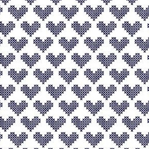 Frederick Cross Stitch Hearts in Navy