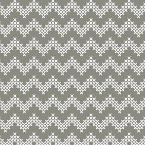 Sir Oswald Cross Stitch Chevron in Gray