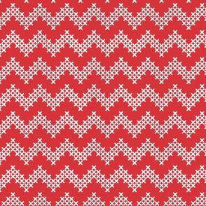 Foxy Cross Stitch Chevron in Red